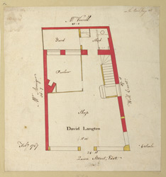 [7 Plan of property in Queen Street occupied by David Langton, dated Feby. 1767]